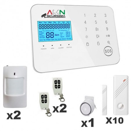 KIT Allarme 17 Pezzi Antifurto Casa Touch Screen Senza fili Wireless Anti Jammer GSM APP